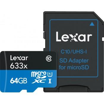 Lexar microSDXC 64GB 633x 95MB/s U1 C10 + Adapter SD